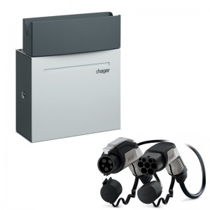 Pack Borne HAGER - Witty - XEV092 - 7 kW + Câble PHOENIX-CONTACT - T2/T1 - 7 kW - 4m