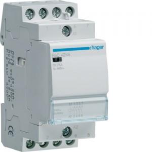 HAGER - ESC425S - Contacteur Silencieux - 25 A - 4 NO - 230V