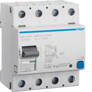HAGER - CDB463F - Interrupteur différentiel ID - 63A - 3P+N - 30 mA - Type B