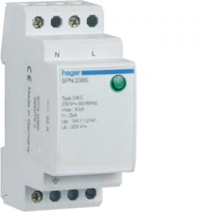 HAGER - SPN208S - Parafoudre à protection fine - 1P+N - Imax. 8 kA